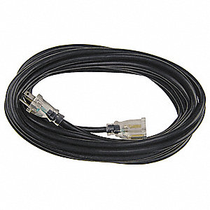 25 ft. Indoor, Outdoor Lighted Extension Cord; Max Amps: 15.0, Number of Outlets: 1, Black