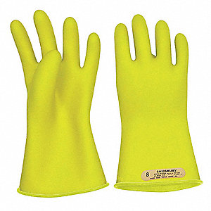 Yellow Electrical Gloves, Rubber, 00 Class, Size 12