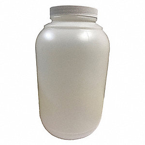 Wide Mouth Round Bottle, Sampling, Plastic, 2000mL, White, 6 PK