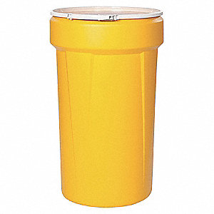 57 gal. Yellow Polyethylene Open Head Transport Drum
