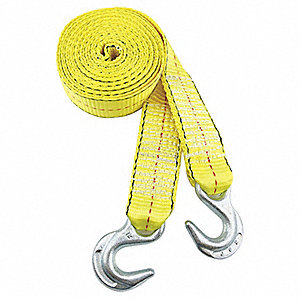 Tow Strap,w/Hooks,2 In x 15 Ft.,Yellow