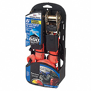 "Tie Down Strap, 6 ft.L x 1""W, 600 lb. Load Limit, Adjustment: Ratchet"