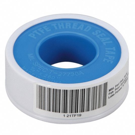 Thread Sealant Tape,  PTFE,  0.35 to 0.5sg,  1/2 in Width,  260 in Length,  White Color