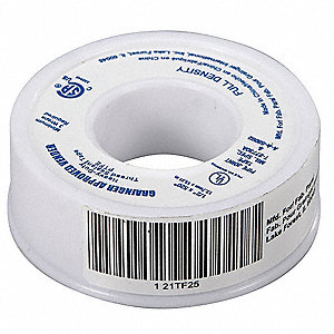 "1/2""W PTFE Thread Sealant Tape, White, 520"" Length"