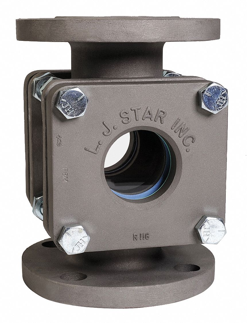 Stainless Steel Window Sight Flow Indicator, 1 1/2 in Pipe Size, 150# Flange Connection Type
