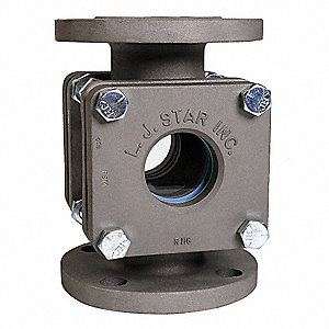 "Stainless Steel Window Sight Flow Indicator, 1-1/2"" Pipe Size, 150# Flange Connection Type"