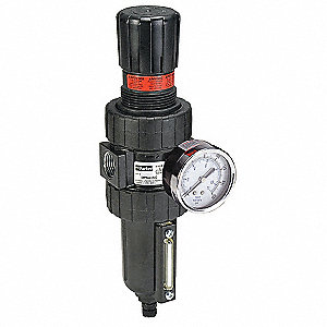 "3/4"" NPT Filter/Regulator, 90 cfm Max. Flow, 250 psi Max. Pressure"