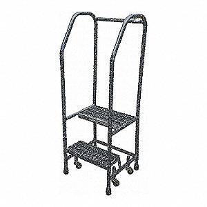 "2-Step Rolling Ladder, Serrated Step Tread, 50"" Overall Height, 450 lb. Load Capacity"