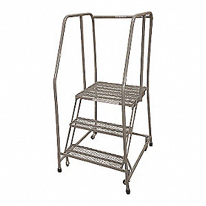 "3-Step Rolling Ladder, Expanded Metal Step Tread, 60"" Overall Height, 450 lb. Load Capacity"