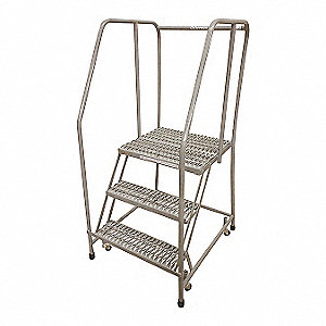 "3-Step Rolling Ladder, Serrated Step Tread, 60"" Overall Height, 450 lb. Load Capacity"