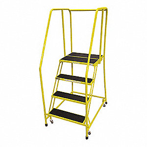 "4-Step Rolling Ladder, Antislip Vinyl Step Tread, 70"" Overall Height, 450 lb. Load Capacity"