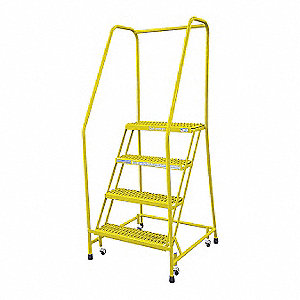 "4-Step Rolling Ladder, Serrated Step Tread, 70"" Overall Height, 450 lb. Load Capacity"