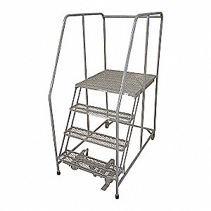 Rolling Ladder,Steel,70In. H.,Gray