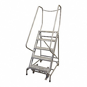 "5-Step Rolling Ladder, Serrated Step Tread, 80"" Overall Height, 450 lb. Load Capacity"