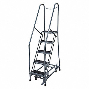 "5-Step Rolling Ladder, Antislip Vinyl Step Tread, 80"" Overall Height, 450 lb. Load Capacity"