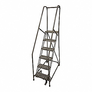 "6-Step Rolling Ladder, Expanded Metal Step Tread, 90"" Overall Height, 450 lb. Load Capacity"