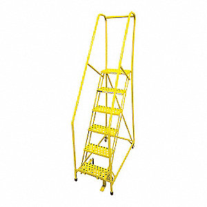 "6-Step Rolling Ladder, Serrated Step Tread, 90"" Overall Height, 450 lb. Load Capacity"