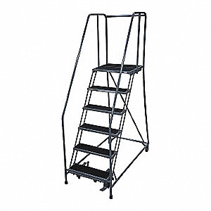 Rolling Ladder,Steel,90In. H.,Gray
