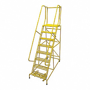 "8-Step Rolling Ladder, Expanded Metal Step Tread, 110"" Overall Height, 450 lb. Load Capacity"