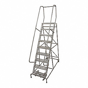 Rolling Ladder,Steel,120In. H.,Gray