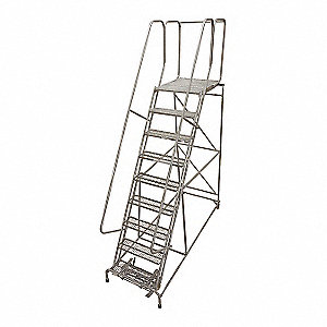 "9-Step Rolling Ladder, Serrated Step Tread, 120"" Overall Height, 450 lb. Load Capacity"