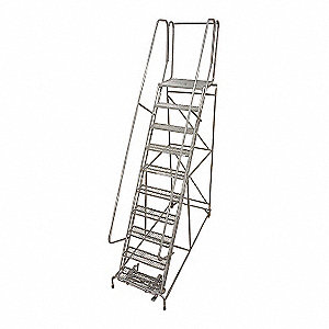 Rolling Ladder,Steel,130In. H.,Gray