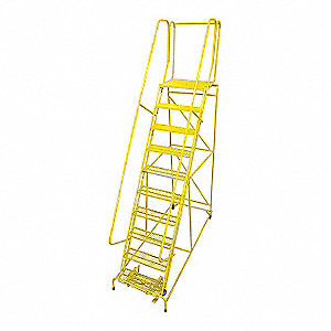 "10-Step Rolling Ladder, Serrated Step Tread, 130"" Overall Height, 450 lb. Load Capacity"