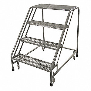 Rolling Ladder,Steel,40In. H.,Gray