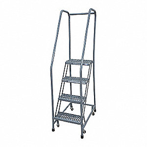 "4-Step Rolling Ladder, Expanded Metal Step Tread, 70"" Overall Height, 450 lb. Load Capacity"