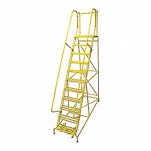 Rolling Ladder,Steel,140In. H.,Yellow