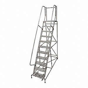"11-Step Rolling Ladder, Perforated Step Tread, 140"" Overall Height, 450 lb. Load Capacity"