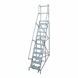 Rolling Ladder,Steel,162In. H.,Gray