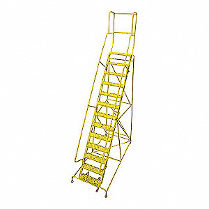 Rolling Ladder,Steel,172In. H.,Yellow