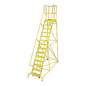 "14-Step Rolling Ladder, Perforated Step Tread, 182"" Overall Height, 450 lb. Load Capacity"