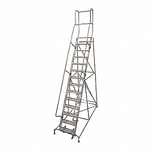 Rolling Ladder,Steel,182In. H.,Gray