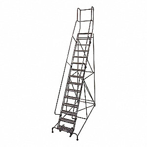 "15-Step Rolling Ladder, Expanded Metal Step Tread, 192"" Overall Height, 450 lb. Load Capacity"