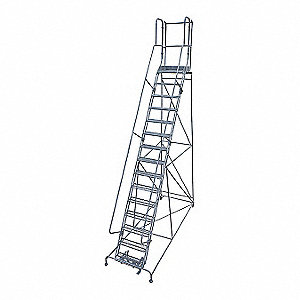 Rolling Ladder,Steel,192In. H.,Gray