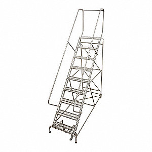 "11-Step Rolling Ladder, Serrated Step Tread, 140"" Overall Height, 450 lb. Load Capacity"