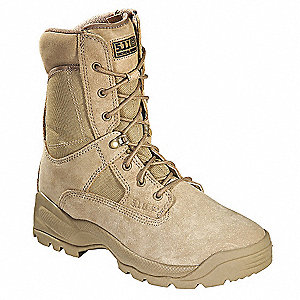 "8""H Men's Boots, Plain Toe Type, Nylon Upper Material, Coyote, Size 12"