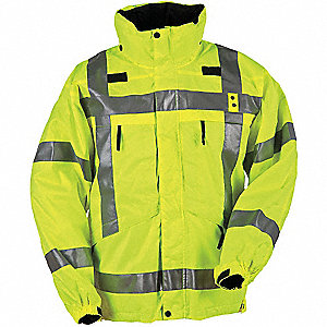 "3 in 1 Parka, XL Fits Chest Size 46"" to 48"", Reflective Yellow Color"