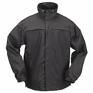 "Unisex Black Nylon Tactical Rain Jacket, Size 2XL, Fits Chest Size 50"" to 52"", Waist Jacket Length"