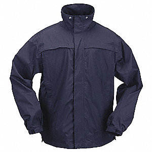 "Unisex Dark Navy Nylon Tactical Rain Jacket, Size L, Fits Chest Size 42"" to 44"", Waist Jacket Length"