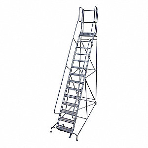 Rolling Ladder,Steel,140In. H.,Gray