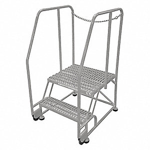 "2-Step Tilt and Roll Ladder, Expanded Metal Step Tread, 50"" Overall Height, 450 lb. Load Capacity"