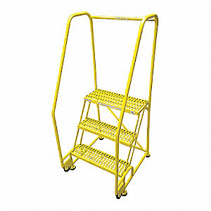 "3-Step Tilt and Roll Ladder, Serrated Step Tread, 60"" Overall Height, 450 lb. Load Capacity"