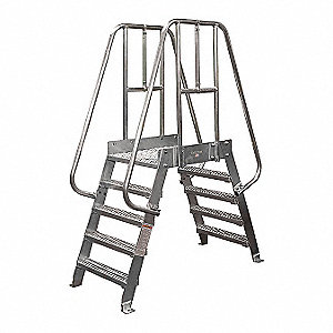 "4-Step Aluminum Crossover Bridge, Serrated Step Tread, 33"" Platform Depth, 32"" Platform Height"