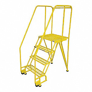 "4-Step Tilt and Roll Ladder, Expanded Metal Step Tread, 70"" Overall Height, 350 lb. Load Capacity"