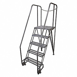 "6-Step Tilt and Roll Ladder, Expanded Metal Step Tread, 90"" Overall Height, 350 lb. Load Capacity"