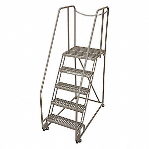 "5-Step Tilt and Roll Ladder, Serrated Step Tread, 80"" Overall Height, 450 lb. Load Capacity"