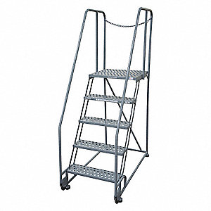 "5-Step Tilt and Roll Ladder, Perforated Step Tread, 80"" Overall Height, 450 lb. Load Capacity"